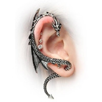 PRO Base The Dragon's Lure Stud Gothic Earring-Antique Silver Style = 5987858817