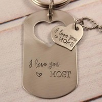 """""""I love you more"""" &  """"I love you most"""" - dog tag set"""