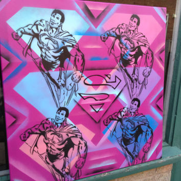 pop art superman painting,stencils & spraypaints on canvas,s,diamonds,comics,urban,graffiti,wall art,large,retro,classic,hand made,4,square,