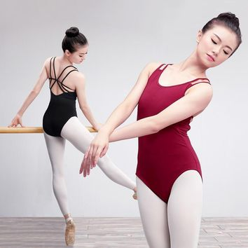 Women Leotards Gymnastics Ballet Leotard Straps Dance Bodysuit Cotton Spandex Ballerina Dance Wear