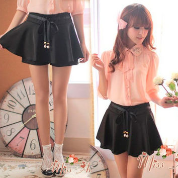 New Womens Mini Skirt Pleats Summer Korean Dress Pants Solids Skorts Short Slim