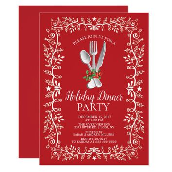 Beautiful Holiday Christmas Dinner Invitation