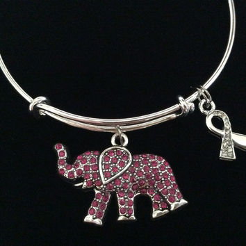 Pink Elephant Representing Strength Awareness Ribbon Expandable Charm Bracelet Adjustable Silver Bangle Gift