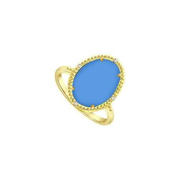 18K Yellow Gold Vermeil Ring with Oval Blue Chalcedony and Cubic Zirconia 15.08 Carat TGW