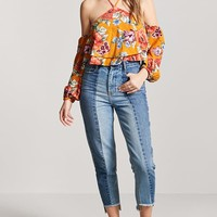 Floral Open-Shoulder Crop Top