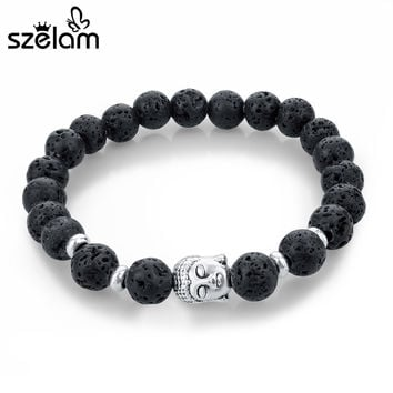 2016 Black Lava Stone Bead Buddha Bracelets For Women and Men Jewelry Natural Stone Bracelets & Bangles Pulseras SBR150210