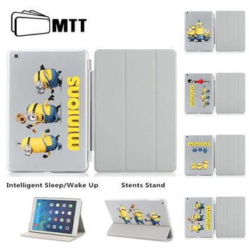 MTT Unique 3D UV Printing Cute Minions Smart Cover For iPad Air 1 2 Case Ultra Thin Flip Leather Stand Sleeve For Apple iPad 5 6