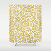 A Crowd of Smiling Daisies Shower Curtain by Lisa Marie Robinson