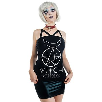 Pentagram and Moons Witch Moon Phases Black Strappy Tank Top