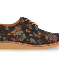 TOMS Black Floral Paisley Men's Brogues Black