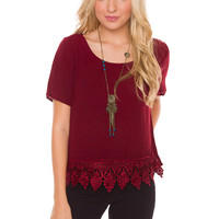 Victoria Lace Top - Burgundy