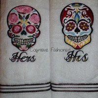 His and Hers Sugar Skull Day Of The Dead Soft Embroidered Hand Towels1888 Mills
