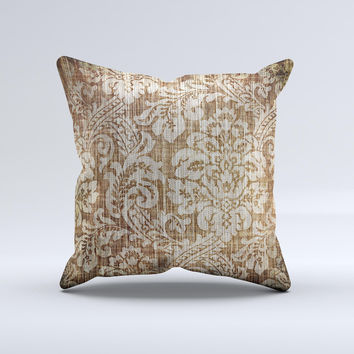 Antique Floral Lace Pattern Ink-Fuzed Decorative Throw Pillow