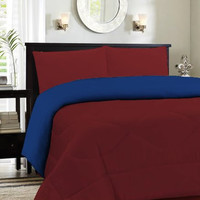 King Burgundy/Navy Cozy Reversible Comforter Set [Kitchen]