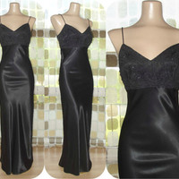 Vintage 90s Retro 30s Black Liquid Satin Bias Harlow Gown 9 S/M Formal Gatsby Dress