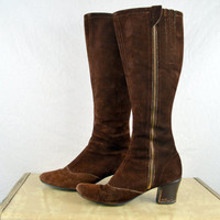 Tall Vintage 60s Suede Go Go 1960s MOD Boots Shoes
