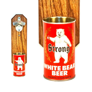 Father's Day Gift Wall Mounted Bottle Opener with Vintage Strong White Bear Beer Can Cap Catcher - Groomsmen Gift Idea - Barware