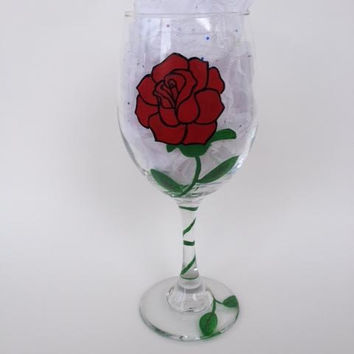 Red rose stem hand painted wine glass