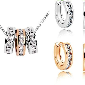 Milan Necklace Earring Set 18K White Gold ,Rose Gold Plated