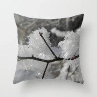 Frost Tree Branch Pillow, Black and White Pillow Cover, Winter Decor, Frozen Pillowcase, Photo Pillow Case, Nature Home Decor 16X16 18X18