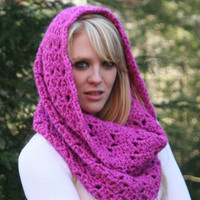 On SALE 50% OFF-Fuchsia Pink  Chunky Cowl Scarf Snood / Autumn / Winter Fashion Accessories