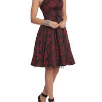 Red And Black Brocade Lace-Up Dress
