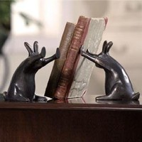 SPI Rabbit Pushing Books Bookend Pair