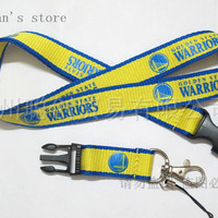 FREE SHIPPING ONE PC Golden State Warriors Key  Lanyard  Basketball Mobile Strap Badge ID Holders Mobile neck straps