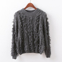 Long Sleeve Knit Tops Round-neck Pullover Tassels Sweater Jacket [9017746756]