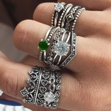 Retro Diamond Set Ring Emerald Carved Pattern Set of 12 Ring