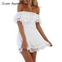 Simplee Apparel 2016 summer women dresses Strapless lace stitching off the shoulder dress Slash neck white mini dress vestidos