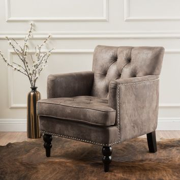 Malone Microfiber Club Chair by Christopher Knight Home | Overstock.com Shopping - The Best Deals on Living Room Chairs