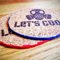 Cork Coaster, Personalized Round Cork Coasters, Heisenberg, Walter White, Breaking Bad, Lets Cook, Gift for him - set of 4