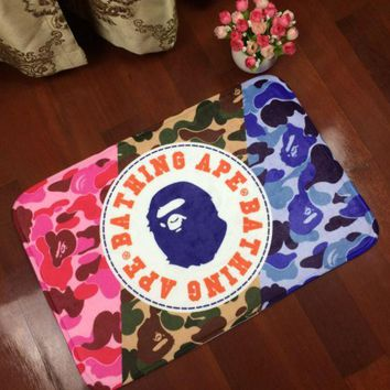PEAPDQ7 camouflage Bathing Ape Print  Anti-skid Alphabet Bathroom Carpet Living Room Bedroom Mat