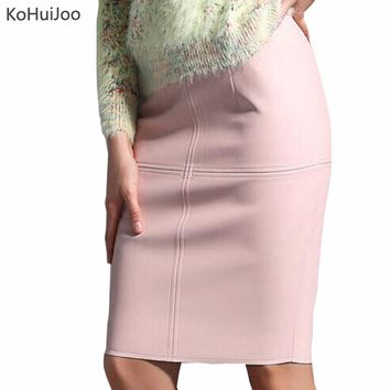 KoHuiJoo Sexy Leather Skirt Women Slim Solid Pencil Skirt Ladies High Waist Knee Length Red Faux Leather Skirts Black Clothing