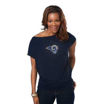 Meesh and Mia St. Louis Rams Ladies Off-the-Shoulder Top - Navy Blue