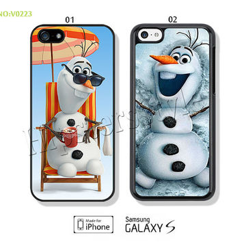 Phone Cases, iPhone 5/5S Case, iPhone 4/4S Case,  iPhone 5C Case, Disney, Disney frozen, olaf Galaxy S3 S4 S5 Note 2 Note 3-B0223