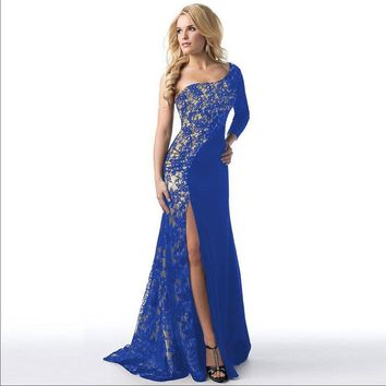 One Shoulder Long Sleeve Lace Floor Length Evening Gown
