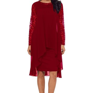 Burgundy Lace Long Sleeve Double Layer Midi Dress
