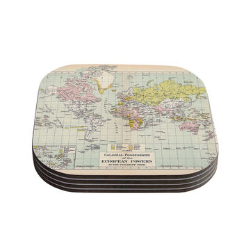 "Catherine Holcombe ""Travel"" World Map Coasters (Set of 4)"