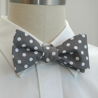 Men's Bow Tie in warm grey with white polka dots