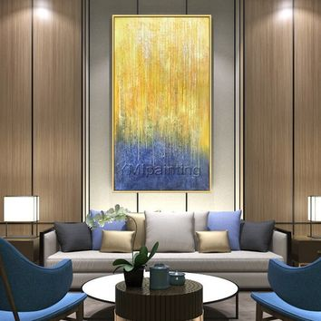 Abstract Acrylic painting yellow painting on canvas extra Large Modern abstract Texture Wall Art Decor Picture for living room Hallway Decor