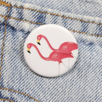 Pink Lawn Flamingos 1.25 Inch Pin Back Button Badge