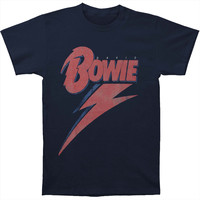 David Bowie Men's  Bowie Bolt T-shirt Navy