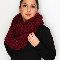Oversized Chunky Infinity Scarf Cowl, Snood in Deep Burgundy Red, Winter Accessories READY TO SHIP