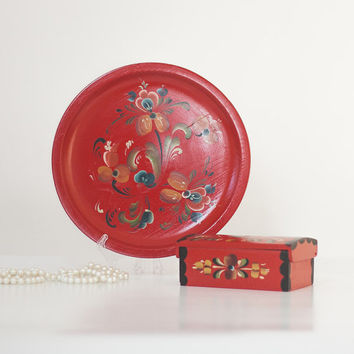 Red Jewelry Box & Vanity Tray, Vintage Wooden Hand Painted Trinket and Plate, Vanity Set, Signed Floral Keepsake Box, Norway Art