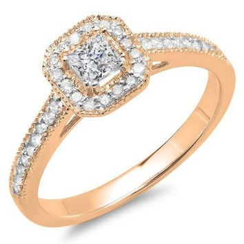 0.50 Carat (ctw) 10K Gold Princess & Round Diamond Ladies Halo Style Bridal Engagement Ring 1/2 CT