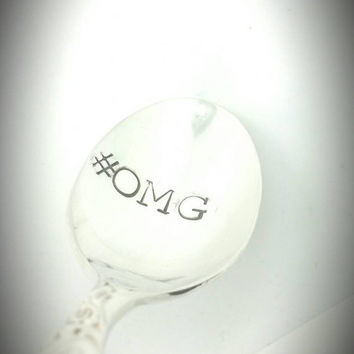OMG Hand Stamped Coffee Spoon