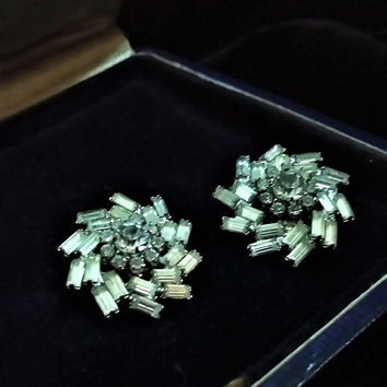 Exquisite Vintage  Early Faceted Cut Crystal Rhinestone ICE Designer Signed WEISS Celestial Swirling Clip On Earrings Wedding Prom Bridal