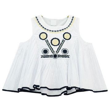 Cute Pleated Tank with Embroidery
